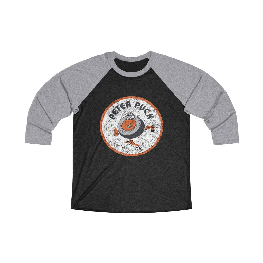 Old School Distressed Peter Puck Unisex Tri-Blend 3/4 Raglan Tee