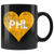 Philly Hockey Heart Black Coffee Mug