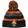 Ghost Bear Smokey Striped Beanie with Pom