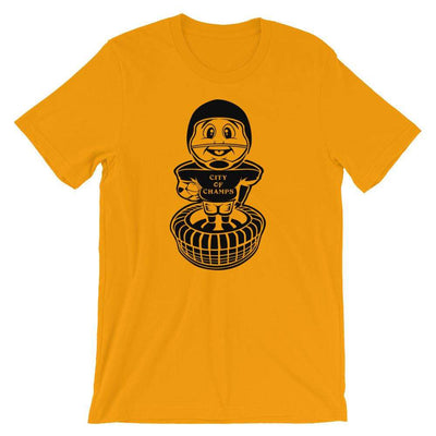 Gold City of Champs Football Bobblehead Adult T-Shirt