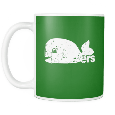 Hartford Whalers Inspired Pucky The Whale Green Mug