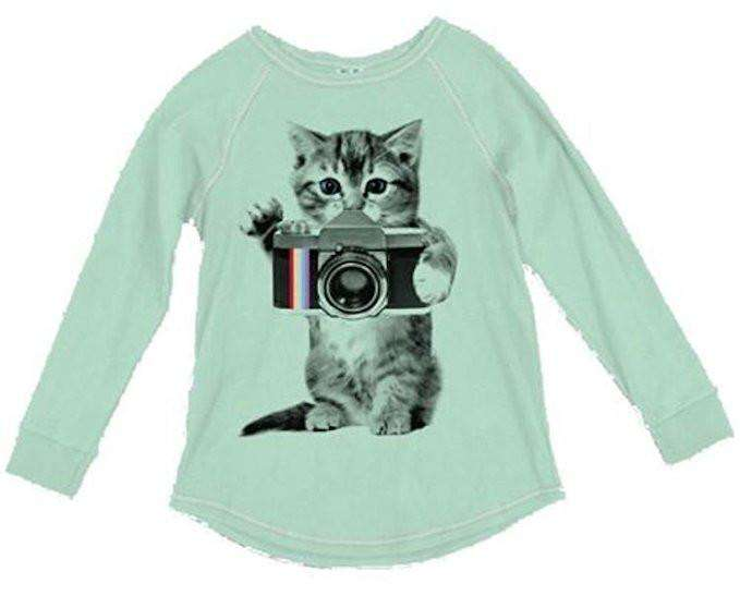 Junk Food Girls Cat with Camera Long Sleeve Shirt