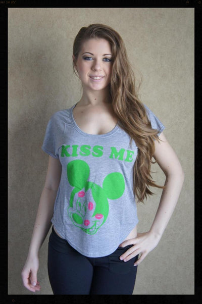 Vintage Inspired Womens Mickey Mouse Kiss Me Dolman Shirt - Generation T
