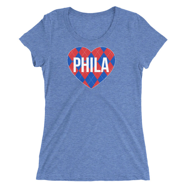Philly Hoops Love Argyle Ladies' Tri Blend Tee Shirt