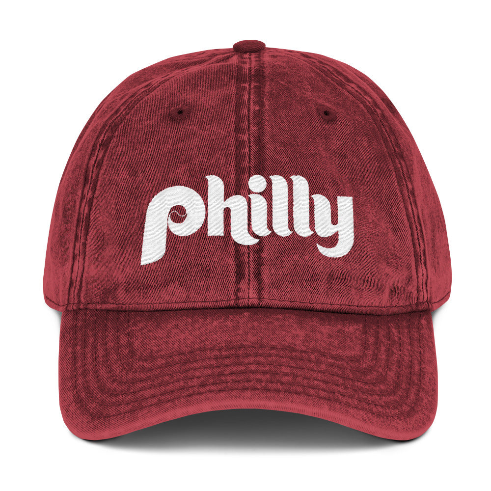 Retro Philly Baseball Script Embroidered Vintage Cotton Twill Cap