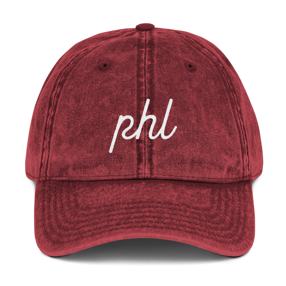 Retro PHL Script Embroidered Vintage Cap