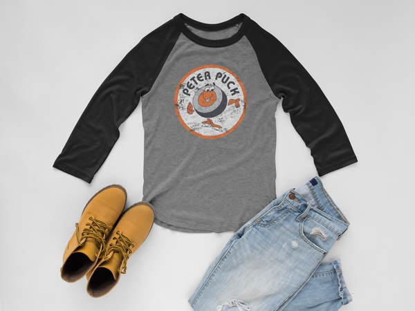 Retro Peter Puck Tri-Blend 3/4 Sleeve Baseball Raglan T-Shirt