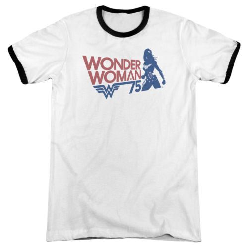 Mens Wonder Woman 75 Silhouette Retro Ringer T-Shirt