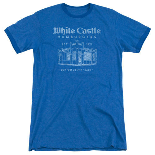 Mens White Castle By The Sack Retro Ringer T-Shirt