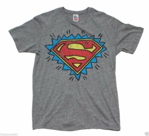 Mens Junk Food Superman Pop Art Logo Tri Blend Tee Shirt