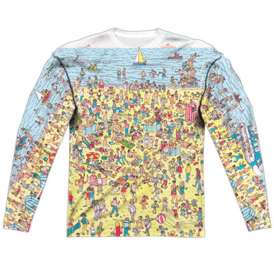 Where's Waldo Beach Scene Long Sleeve Sublimation Shirt - Generation T