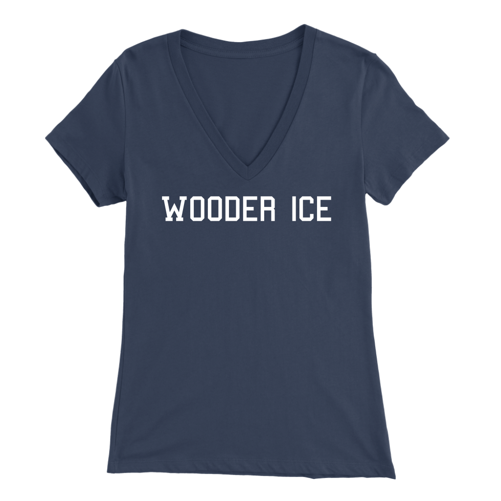 Wooder Ice College Womens V-Neck T-Shirt