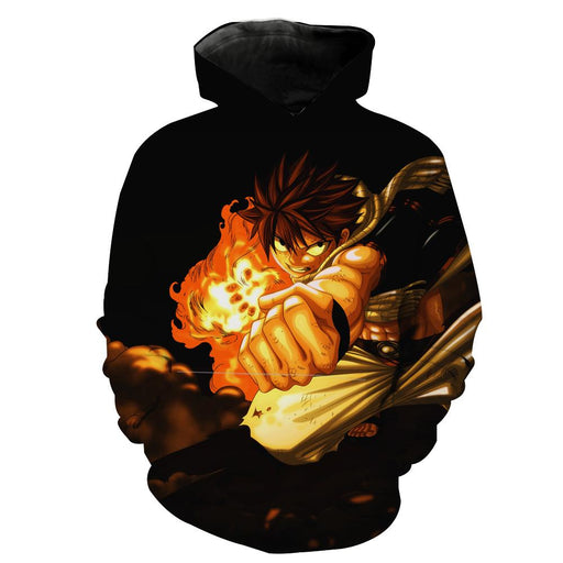 Black Fairy Tail Anime Clothes - Natsu Punch Hoodie
