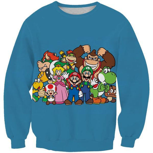 Blue Nintendo Character Sweatshirt - Video Game Clothing
