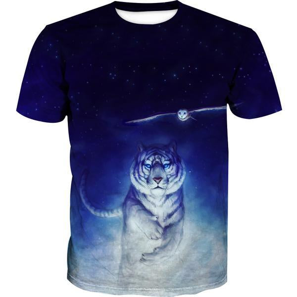 Space Tiger and Owl T-Shirt - Printed Shirts