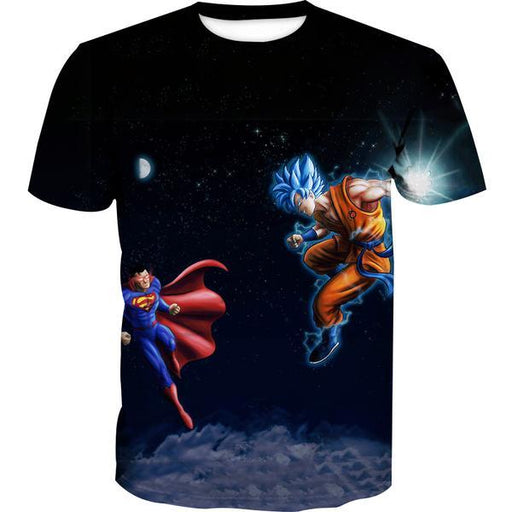 Superman Vs Goku T-Shirt - Dragon Ball x Superman Cross Clothes