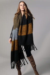 Stripe Braided Tassel Scarf