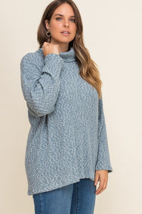 Mock Neck Thermal Top Blue