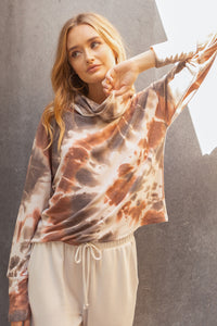 Cowl Neck Tie Dye Top