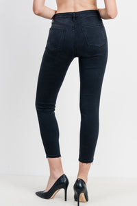 Destroyed Hem Skinny Washed Black