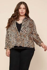 Satin Leopard Button Down