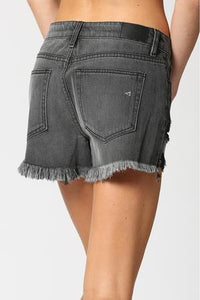 Washed Black Button Fly Shorts