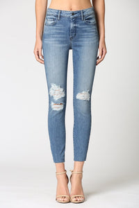 Medium Wash Cut Hem Skinny