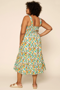 Tropical Tiered Midi Dress