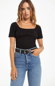 Rib Short Sleeve Top