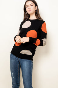 Polka Dot Contrast Sweater