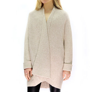 Oatmeal Ribbed Cardigan