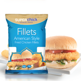 Superchick Fillets American Style Lightly Seasoned Chicken Burger (1kg) - The Halal Food Shop