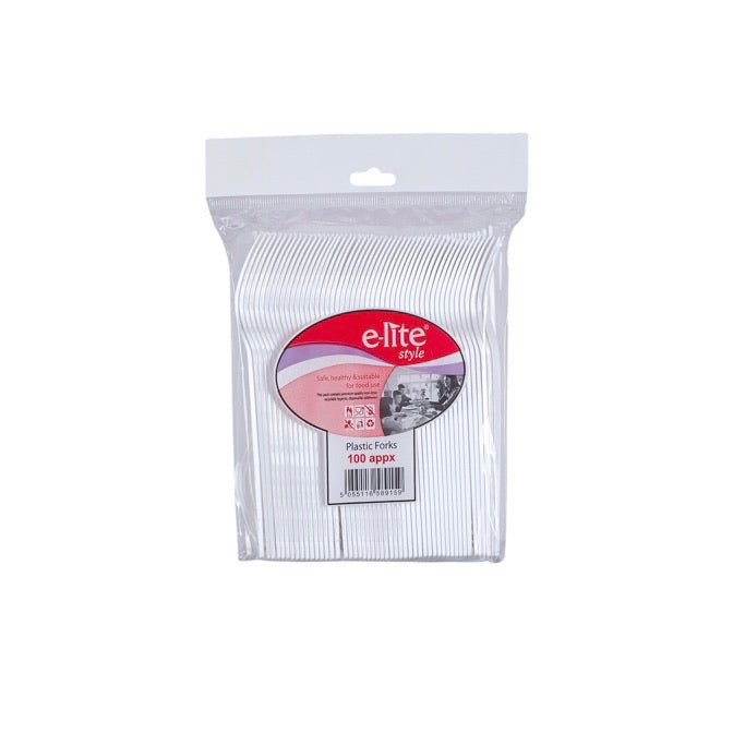 E-Lite Plastic Forks (100 Pack Approx)