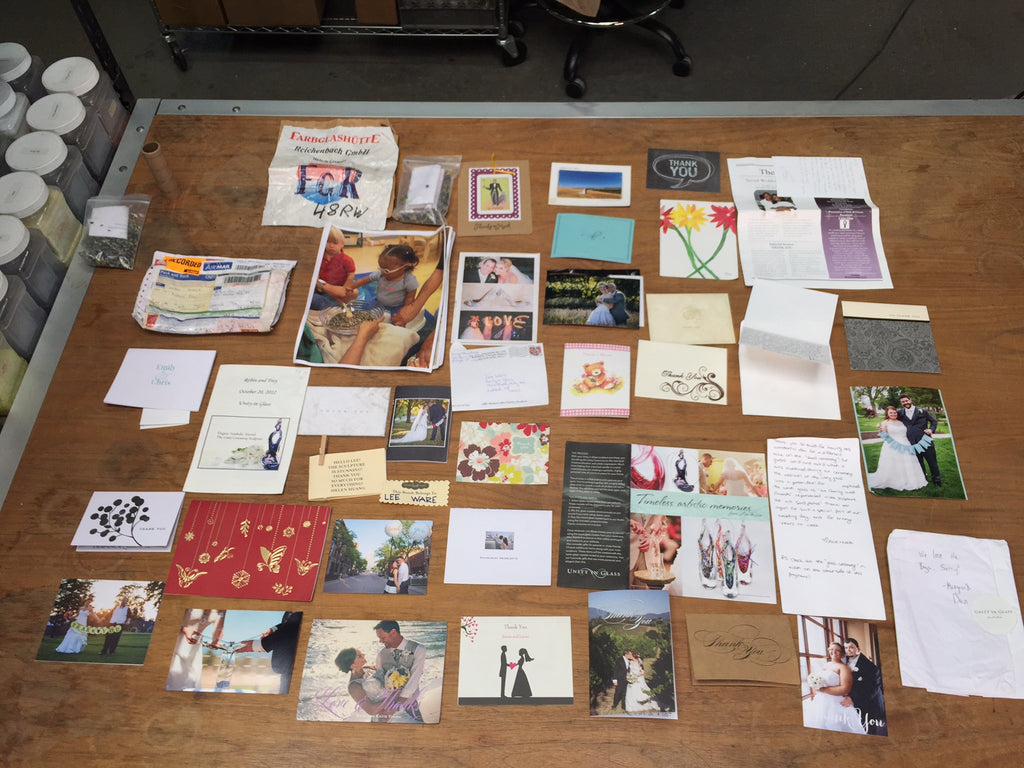 Thank you notes from our clients that we've collected and that we cherish.