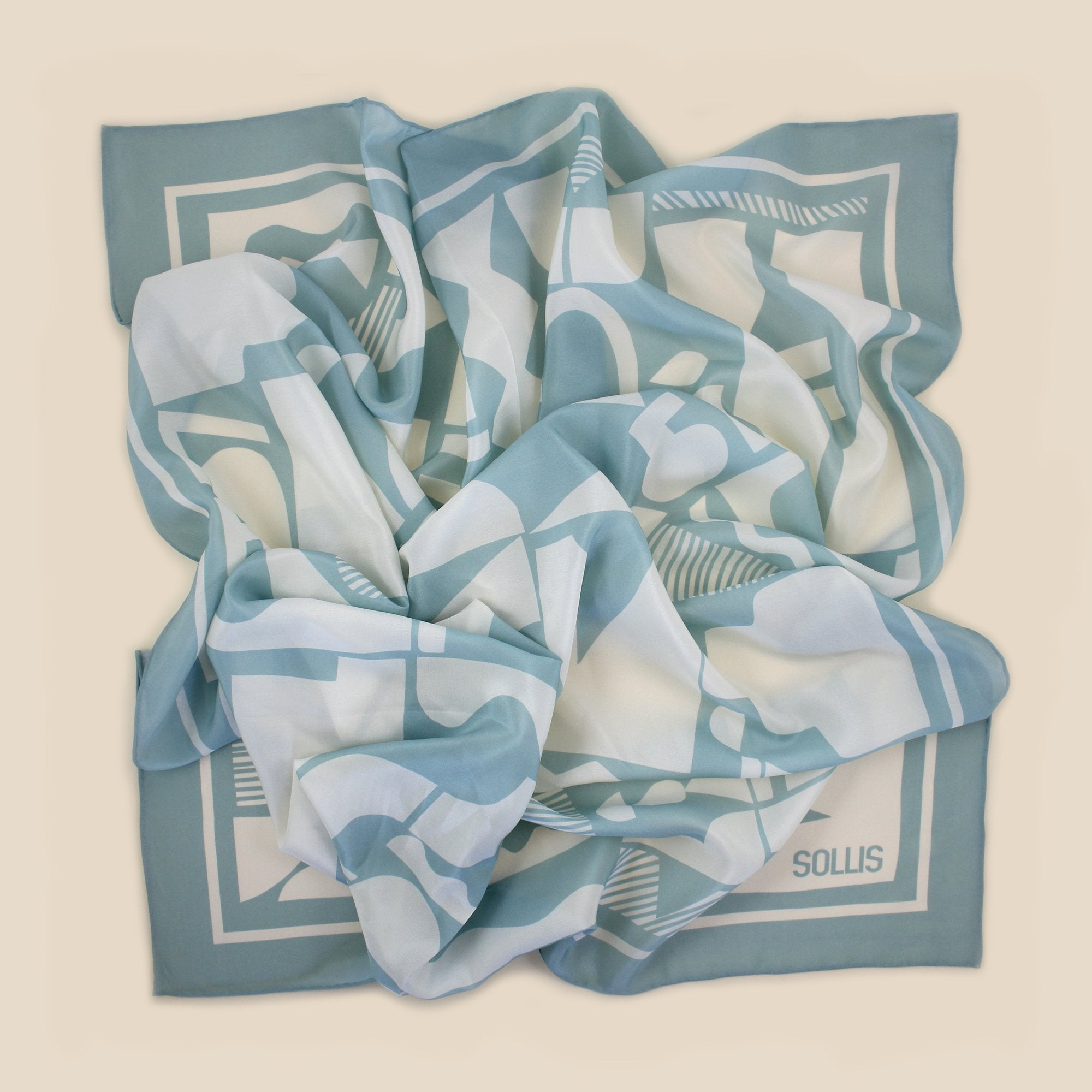 SILK SCARF - 'SHAPES' design - 70% OFF