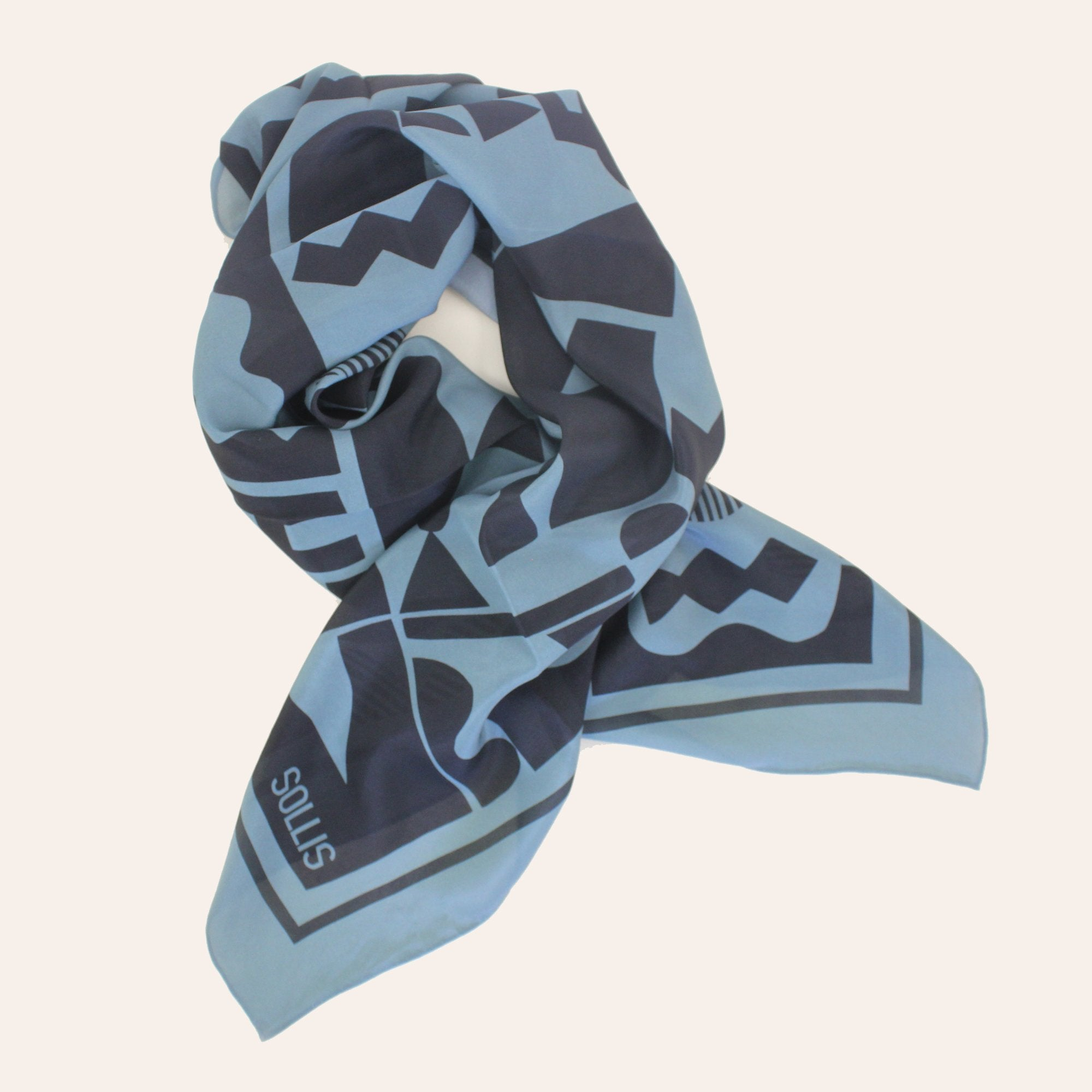 SILK SCARF - 'SHAPES' design - 60% OFF