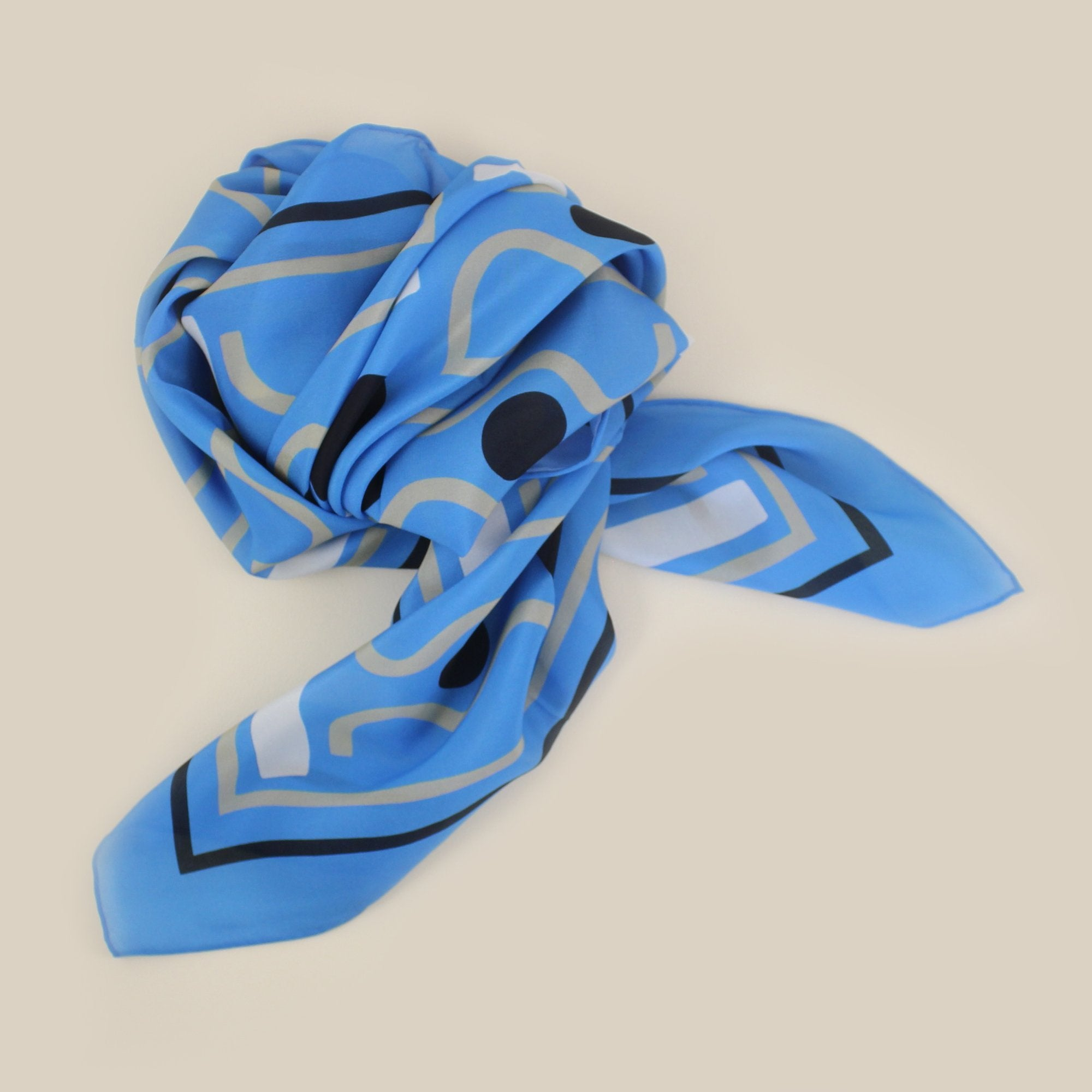 SILK SCARF - 'WAVES' design - 70% OFF