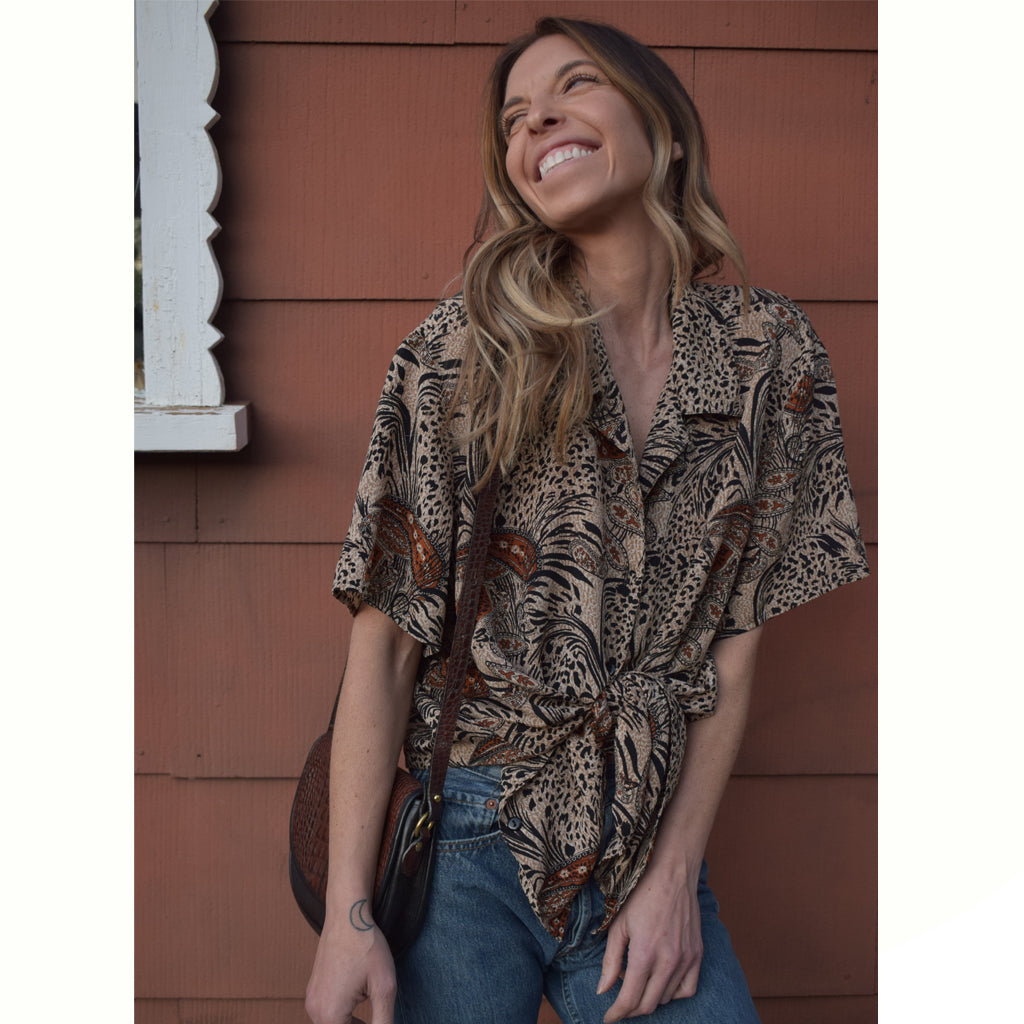jungle paisley button down