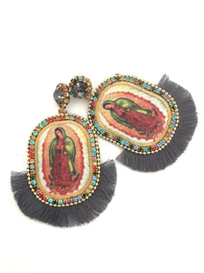 Virgen de Guadalupe tassel grey light weight earring-handmade