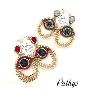 Evil eye earring-lightweight red-blue