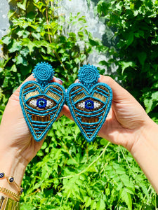 BLUE evil eye light weight earring-handmade