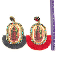 Load image into Gallery viewer, Virgen de Guadalupe tassel grey light weight earring-handmade