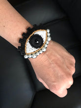 Load image into Gallery viewer, Black evil eye adjustable bracelets