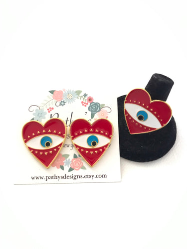 GIFT IDEA -earring adjustable ring heart evil eye