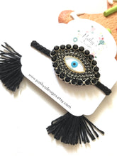 Load image into Gallery viewer, Black nácar evil eye-handmade adjustable bracelets
