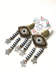 Polimer evil eye white and black tassel light weight earring