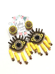 Polimer evil eye yellow light weight earring