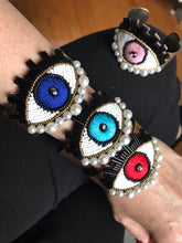 Load image into Gallery viewer, Gold plated bangle-evil eye-handmade-adjustable