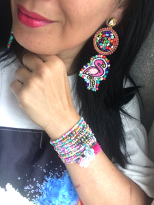 Summer sale complete bracelets and earring flamingo