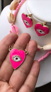 set earring-necklace-pink eye-gold plated